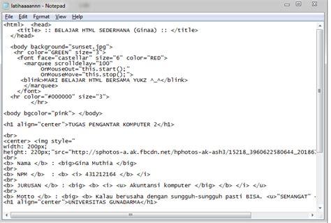 membuat html notepad belajar membuat html gina muthia