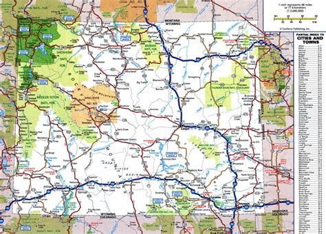 highway map of usa with states and cities large detailed roads and highways map of wyoming state