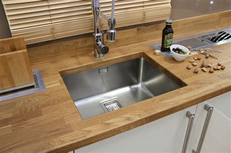 Solid Oak worktop with Franke under mount stainless steel