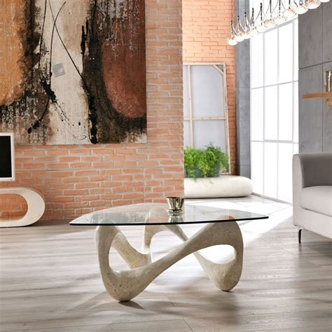 tavolo per salotto tavolino da salotto in vetro e pietra fossile california