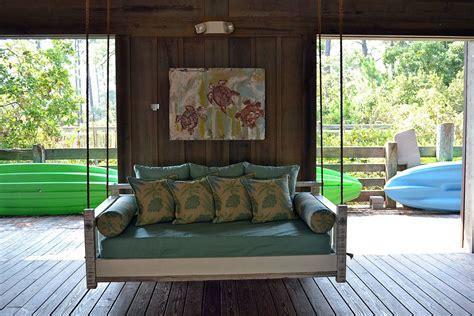 coastal porch swing bed blue giraffe