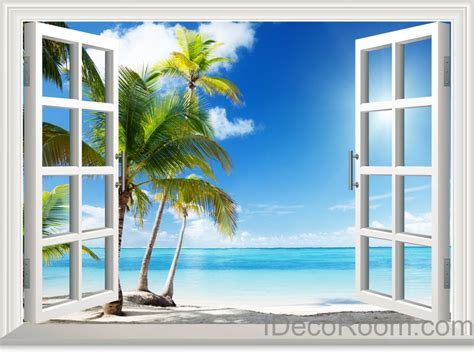 Sunshine coast palm tree cloud 3d window view removable wall decals st idecoroom