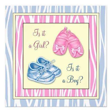 gender reveal baby shower pink blue zebra gender reveal baby shower custom invites