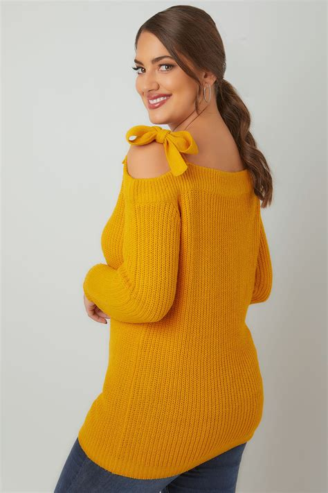 Can You Shop Online With A Visa Gift Card - limited collection mustard yellow bardot knitted jumper with tie shoulder detail plus