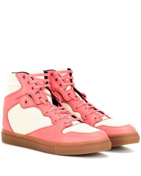 pink balenciaga sneakers balenciaga leather and mesh high top sneakers in pink lyst