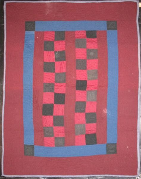 Antique Amish Quilts amish four patch bars antique crib quilt wool
