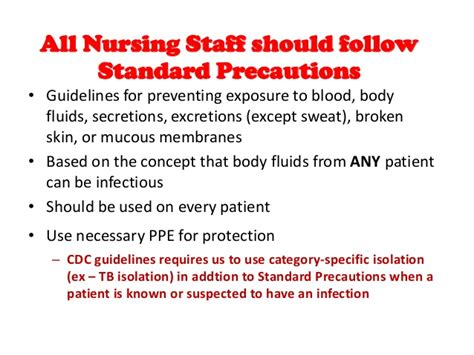 recommendations and universal precautions for the prevention of role of nursing in infection control