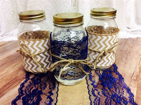 large mason jar table l navy blue lace mason jar lace 4 inch wide 6 yards