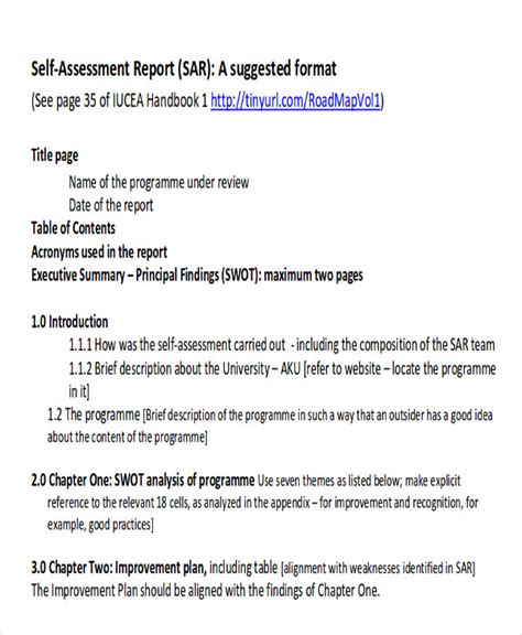 self assessment report template assessment report format sle 8 exles in word pdf
