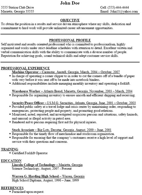 machine operator resume exle machine operator resume