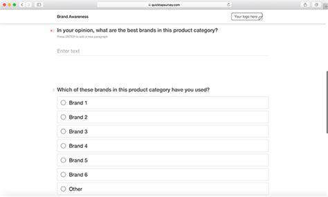brand awareness survey template brand awareness survey template quicktapsurvey