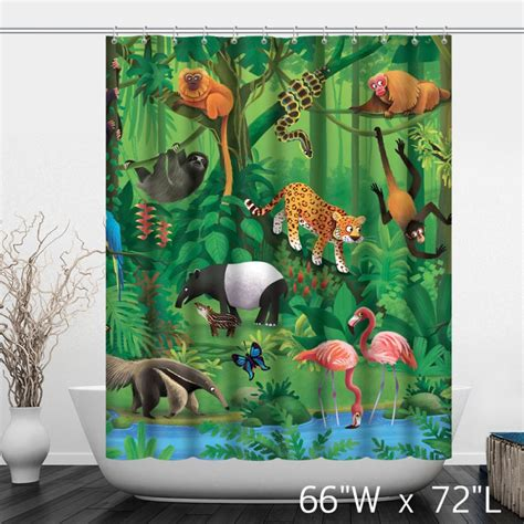 zoological shower curtain zoo hand painted animals print shower curtain custom