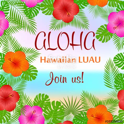 Quot Aloha Hawaiian Party Template Invitation Quot Stock Image And Royalty Free Vector Files On Hawaiian Powerpoint Template