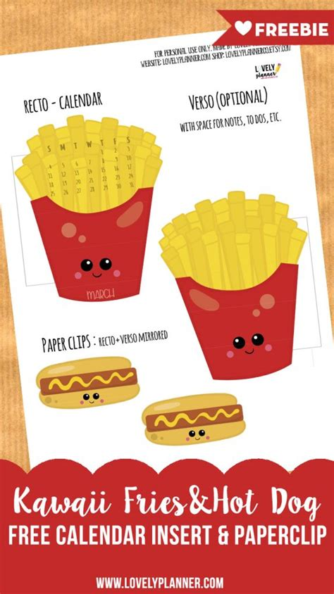 french fries  hot dog calendar divider paperclip