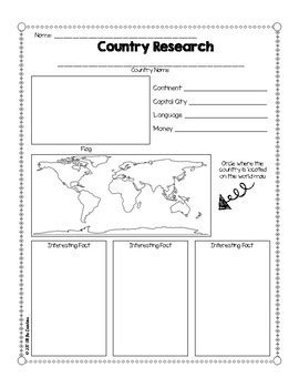 continent report template country research graphic organizer freebie by all the