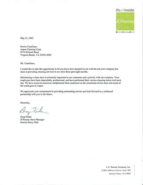 Letter For Cleaning Services Letters Of Recommendations Aspen Cleaning Company Norfolk