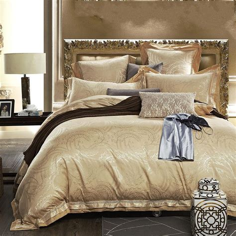 Gold Bedding Sets Aliexpress Buy Luxury Satin Silk Jacquard Bedding Set Gold 4 6pcs Noble Duvet Cover