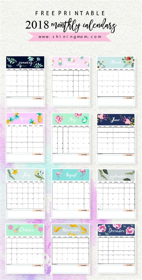 printable calendar 2018 with designs calendar 2018 printable 12 free monthly designs to love