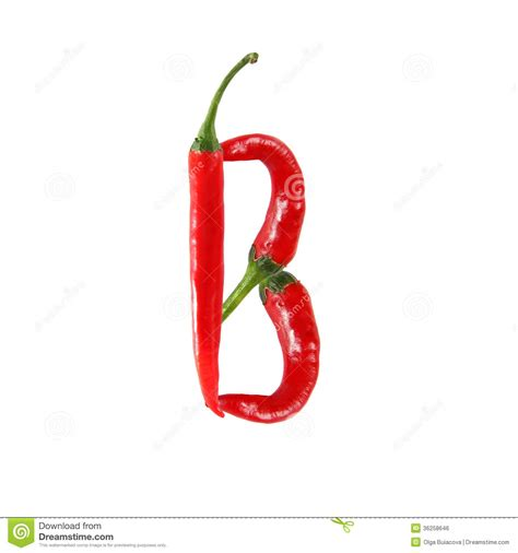 hot pepper 7 letters font made of hot red chili pepper letter b stock photo