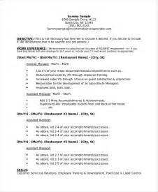 resume template for restaurant manager restaurant manager resume template 6 free word pdf