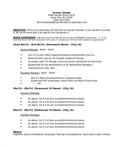Resume Format Doc For Hotel Management restaurant manager resume sles pdf printable planner
