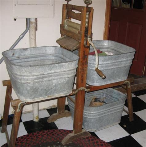 Washing Clothes By In Bathtub by Washer Tub Wringer Vintage