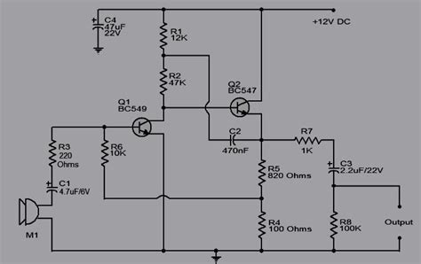 layout rangkaian running led rangkaian pre amp mic 2 transistor koleksi skema