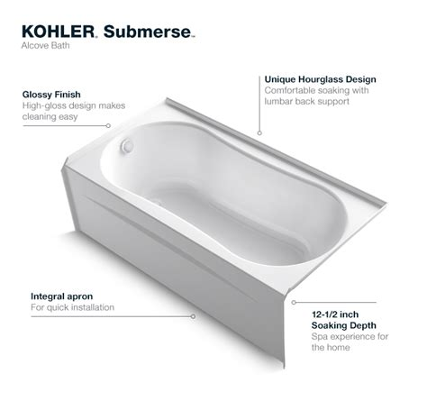 deep bathtubs home depot kohler submerse 5 ft right drain soaking tub in white k