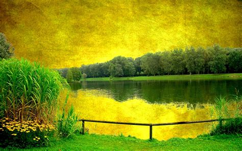 Yellow Landscape Pictures Yellow Sky Green Scenery Lake Wallpapers Yellow Sky