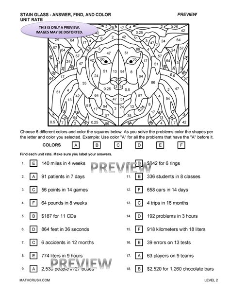 unit rate coloring page worksheets unit rates worksheet 7th grade opossumsoft