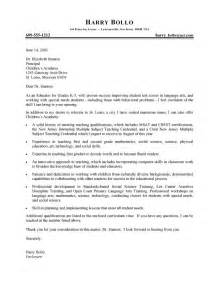 Cover Letter Sles For Teachers by Professional Cover Letter Hunt Letter Sle Teaching And Letter