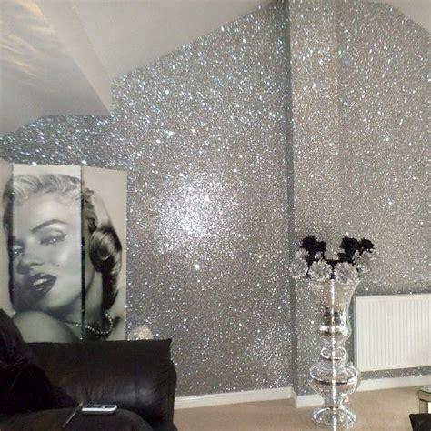 glitter wallpaper in bathroom glitter walls obsessed home pinterest walls