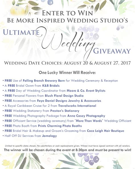 Ultimate Wedding Giveaway - ultimate wedding giveaway bubbly soir 233 e moore co event stylists