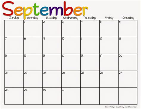 September 2014 Calendar Template by 7 Best Images Of Printable 2015 Monthly Calendar