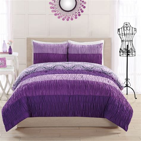 ruched comforter sets colorfall ruching purple comforter set rosenberryrooms