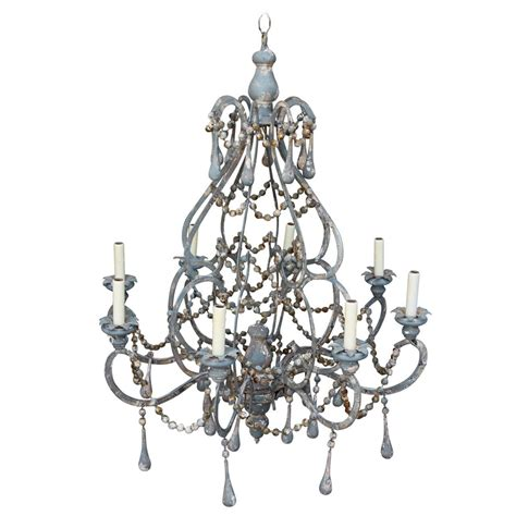 Painted Chandeliers Iron And Wood Beaded Eight Light Painted Chandelier At 1stdibs