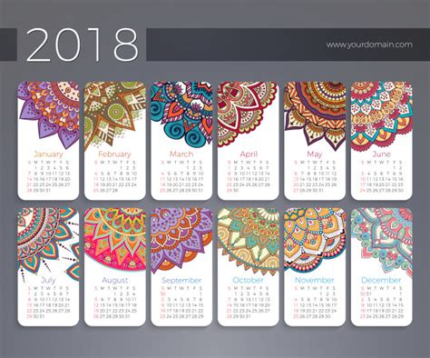 calendar design pattern kalender 2018 vintage decoratieve elementen vector