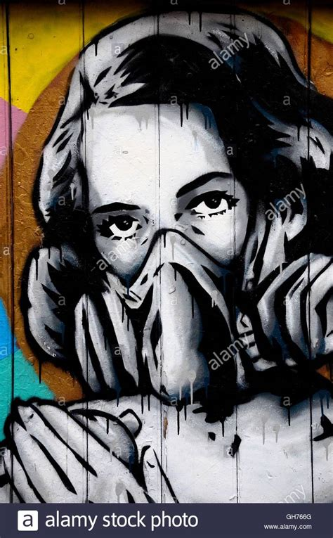 street art wall mural graffiti  woman wearing oxygen gas