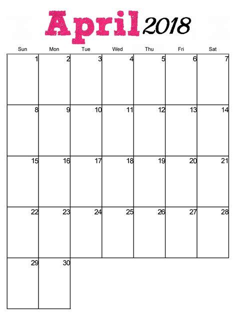 april 2018 free printable monthly calendar