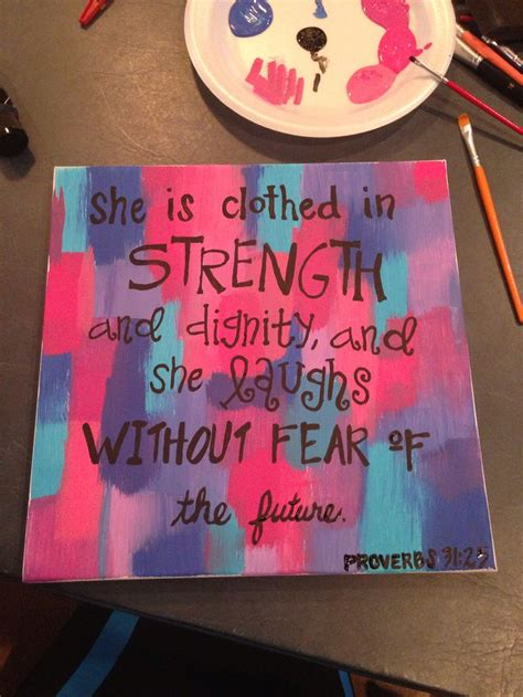 hanging canvas panels mixedmedia diy craft julie prichard she is clothed in strength and dignity and she laughs