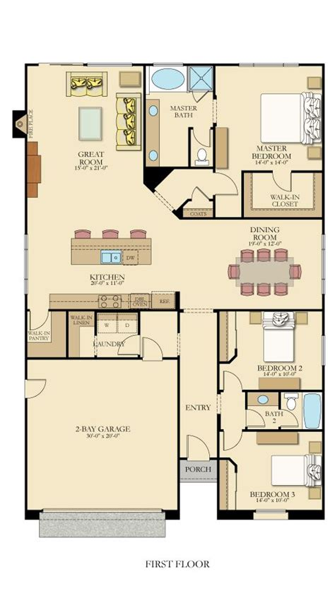 two bedroom hall kitchen house plans one level floor plan from lennarinlandla featuring 3