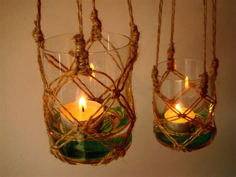 Handmade Candle Holder Ideas - two handmade macrame hanging candle holder garden by recosas