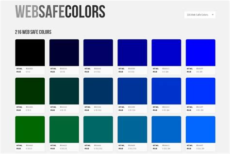 web safe colors reference guide for web designers web