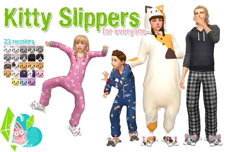 kitty slippers by simlaughlove sims 4 panda cc