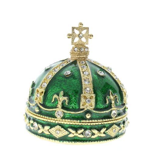 Crown Deck Green Card green crown rhinestone collectible hinged trinket box