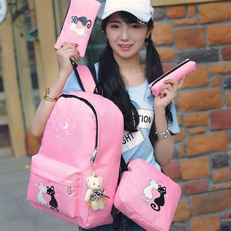 Ransel Kucing Pink By Chiruka Shop paket tas ransel anak 8 in 1 sekolah printing kucing