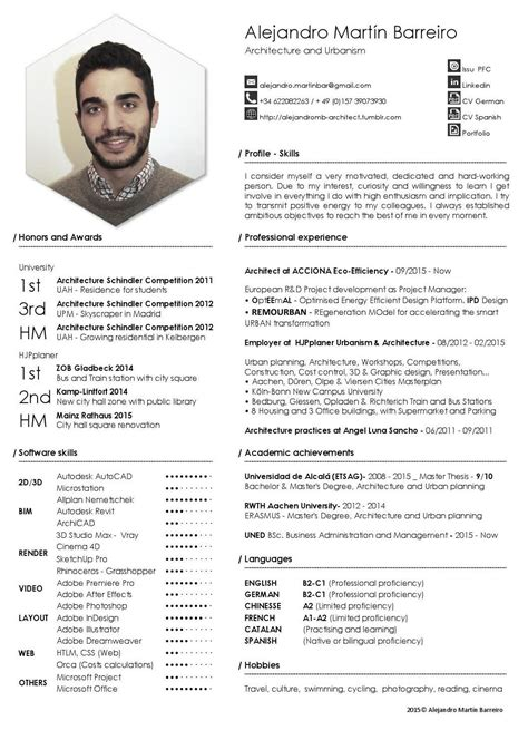 cv template for architects alejandro mart 237 n barreiro getting a cv design