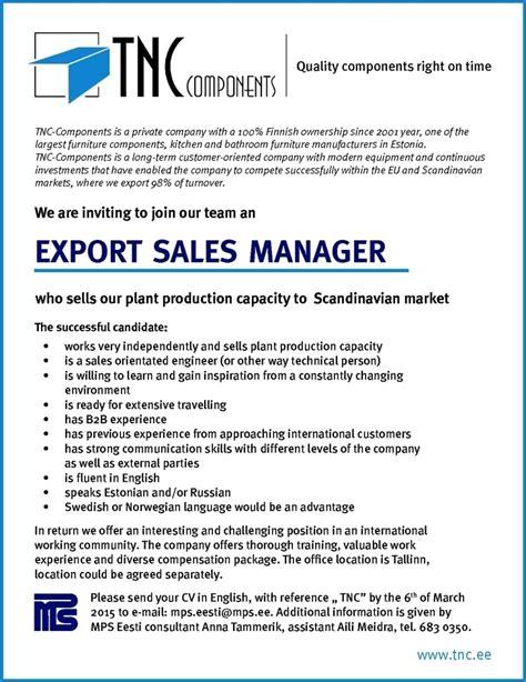 Resume Sles For Export Executive cv keskus t 246 246 pakkumine export sales manager