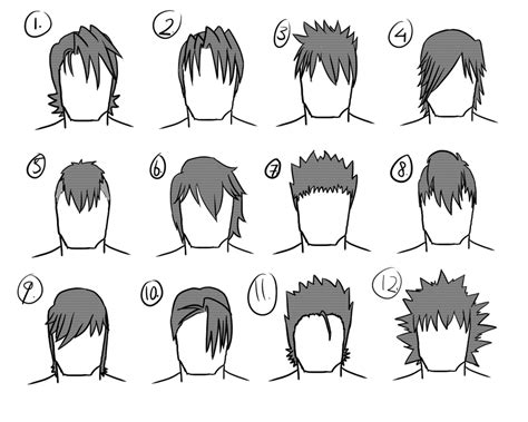 hairstyles anime male 12 male hairstyles by gamertjecool on deviantart