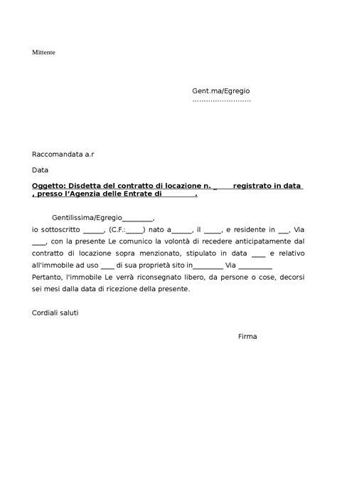 contratto di locazione appartamento modello disdetta anticipata contratto di locazione docsity